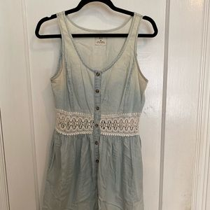 Urban Outfitters Bleached Chambray Dress, Womens M
